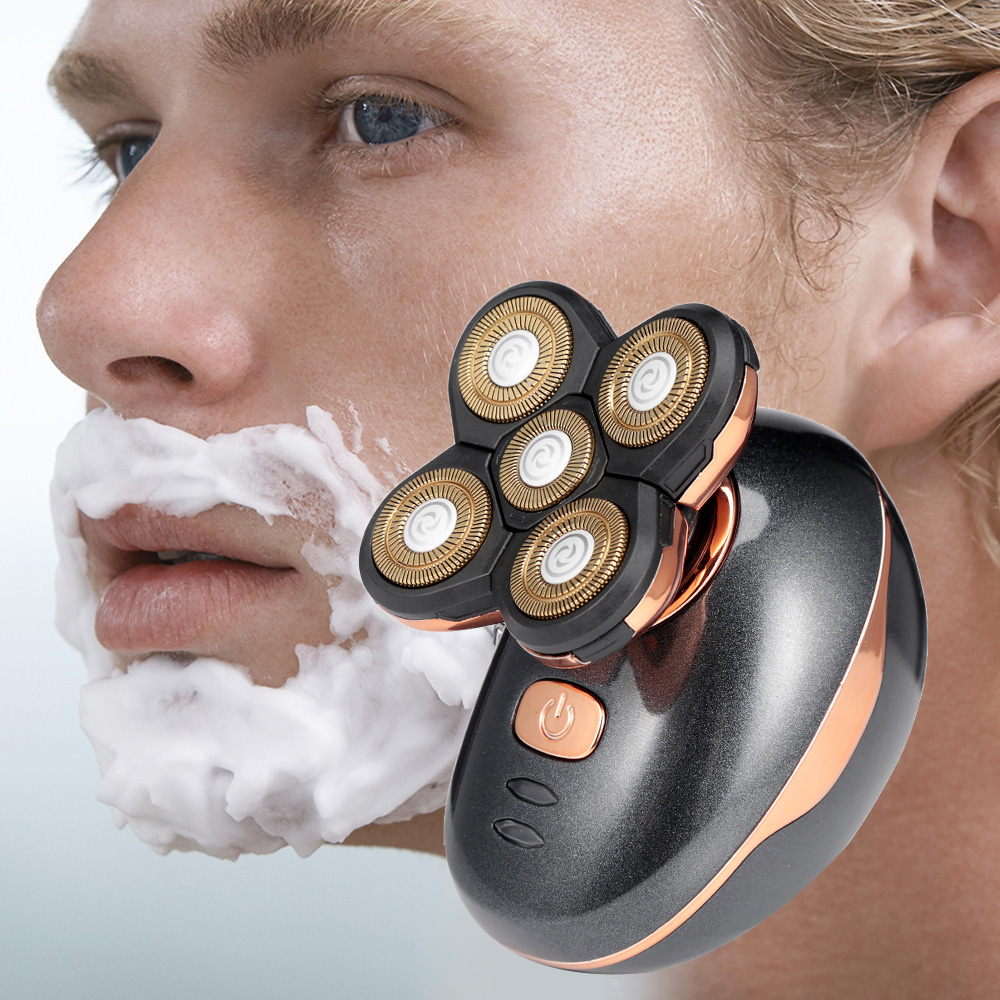 jinding rq5588 3d rotary five-blade electric razor shaver for men and washable rechargeable hair trimmer
