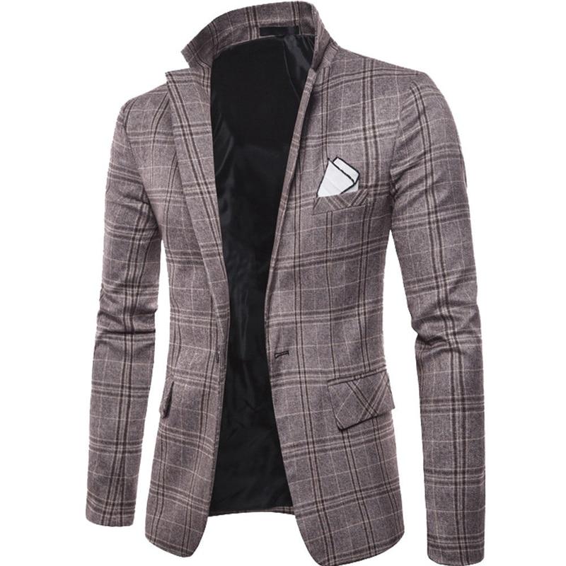 men classic vintage plaid blazers male mens suits notched collar formal suit jackets man bussiness suits blazer coats outwear