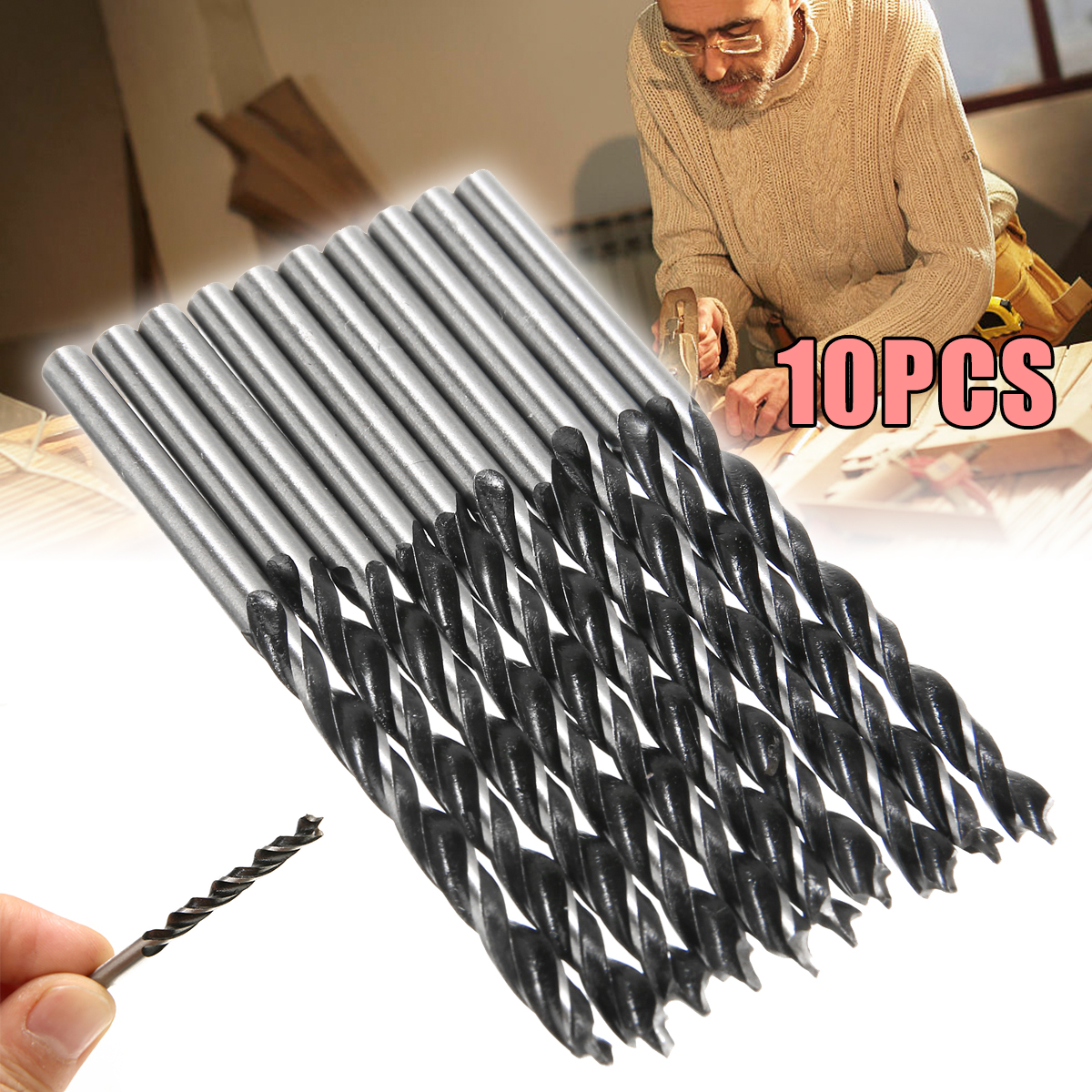 10pcs 4mm Diameter Woodworking Tool 75mm Length Twist Drill Bits High Strength Wood Drills With Center Point