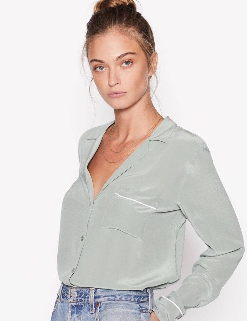 100% SOIE Keira Pyjama Chemise De Soie Olive Branche à manches longues chemisier Boutonné manchette manches Poitrine poche plaquée