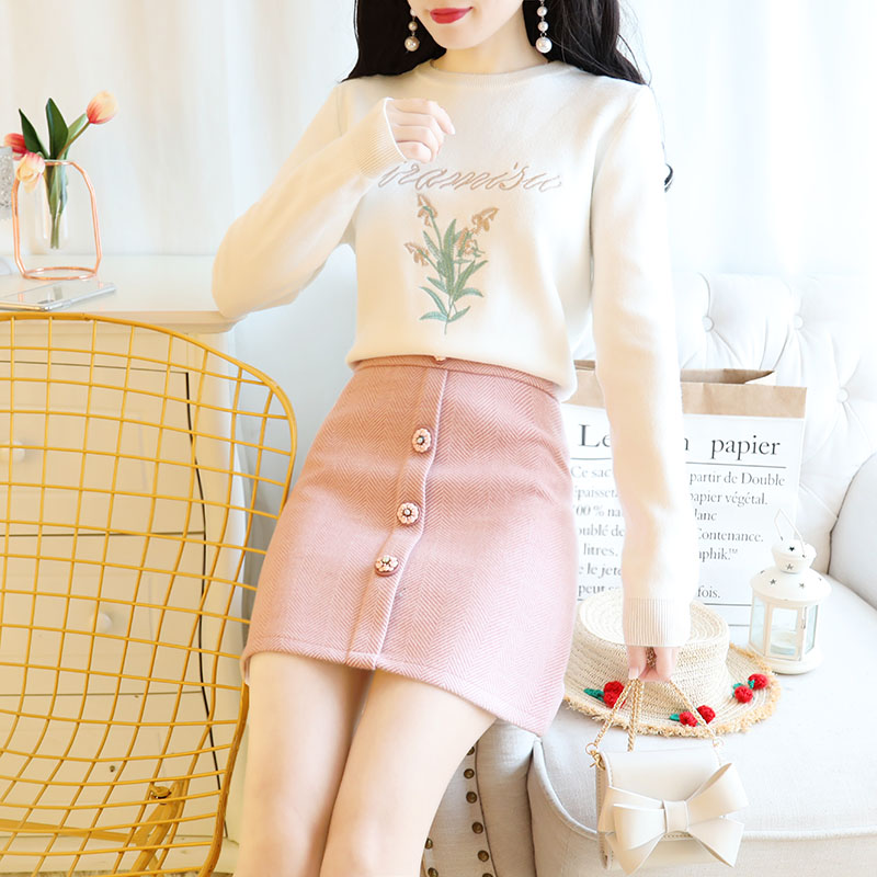 Sweet Long Sleeve Embroidery Pullover Knitted Sweater & Buttons Skirt Two Piece Clothing Set Women Outfits Top Clothes Vestido