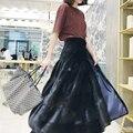 vintage long skirt of real mink fur solid black brown color female winter warm fur skirt C170