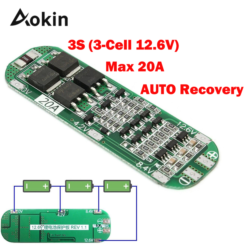 3S <font><b>20A</b></font> Li-ion Lithium Battery 18650 Charger Protection Board PCB <font><b>BMS</b></font> 12.6V Cell Charging Protecting Module AUTO Recovery diy kit image