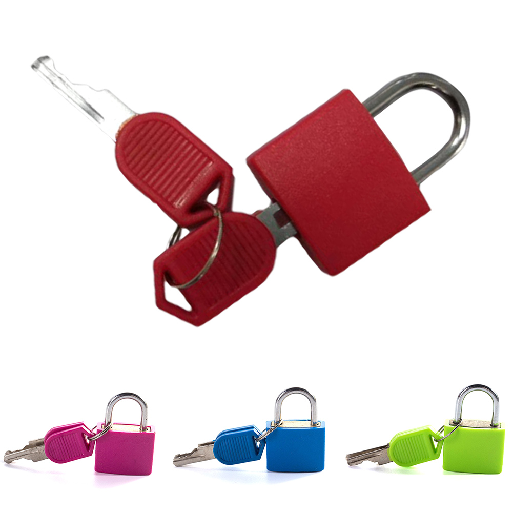 Metal And Plastic Small Mini Strong Steel Padlock Travel Suitcase Diary Lock With 2 Keys Colored Plastic Case Padlock