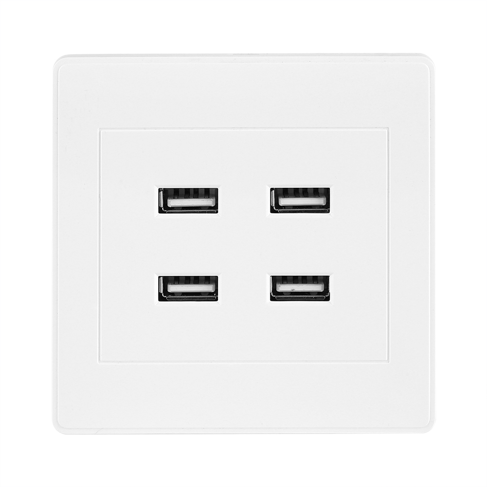 4 USB Ports DC 5V Home Office Electric Wall Mounted Power Socket Charger Outlet