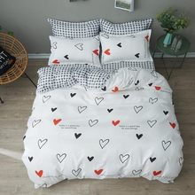 White Cartoon Love Girl Room Bedding Set Bedclothes Soft Duvet Cover Bed Linen Bed Sheet Pillowcases King Queen Full Twin Size(China)