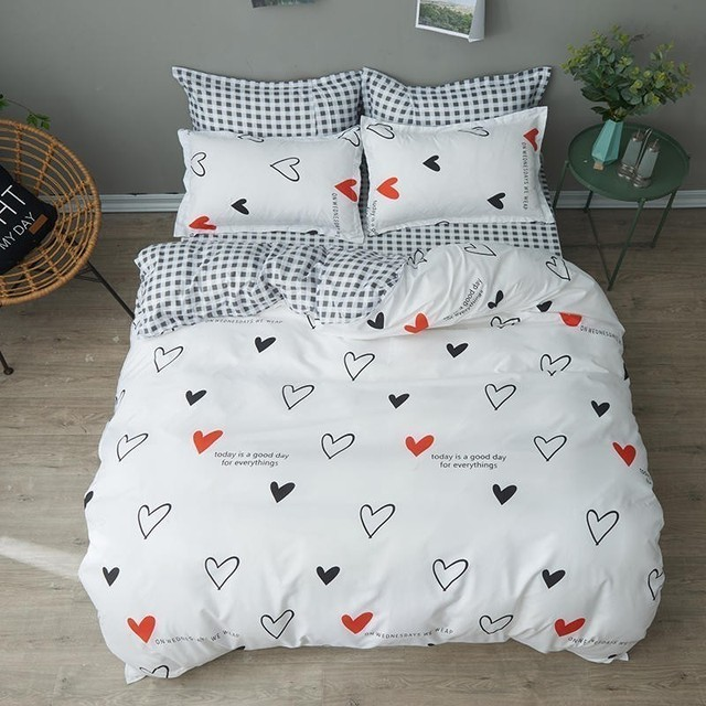 White Cartoon Love Girl Room Bedding Set Bedclothes Soft Duvet Cover Bed Linen Bed Sheet Pillowcases King Queen Full Twin Size