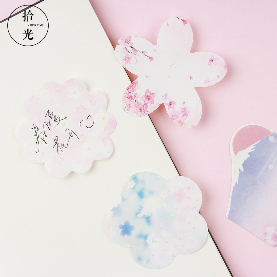 30 PCS Cute Stationery Memo Pads Sheets Kawaii Stickers Self-adhesive Notepads Office Decoration Writing Sticky Note 02095