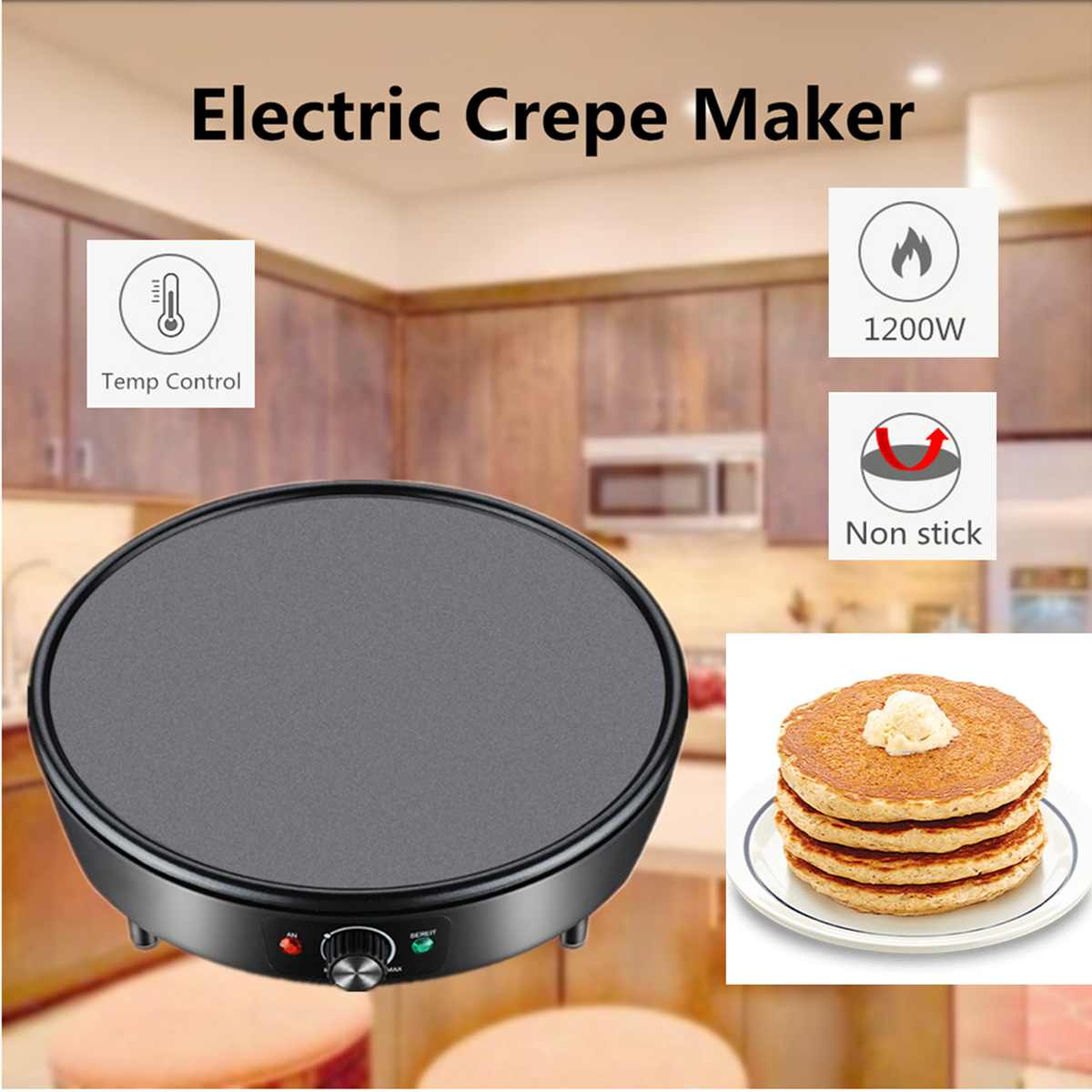 1200 W électrique crêpière Pizza crêpe Machine antiadhésive plaque de cuisson plaque de cuisson gâteau machine cuisine outils de cuisson Dessert faisant