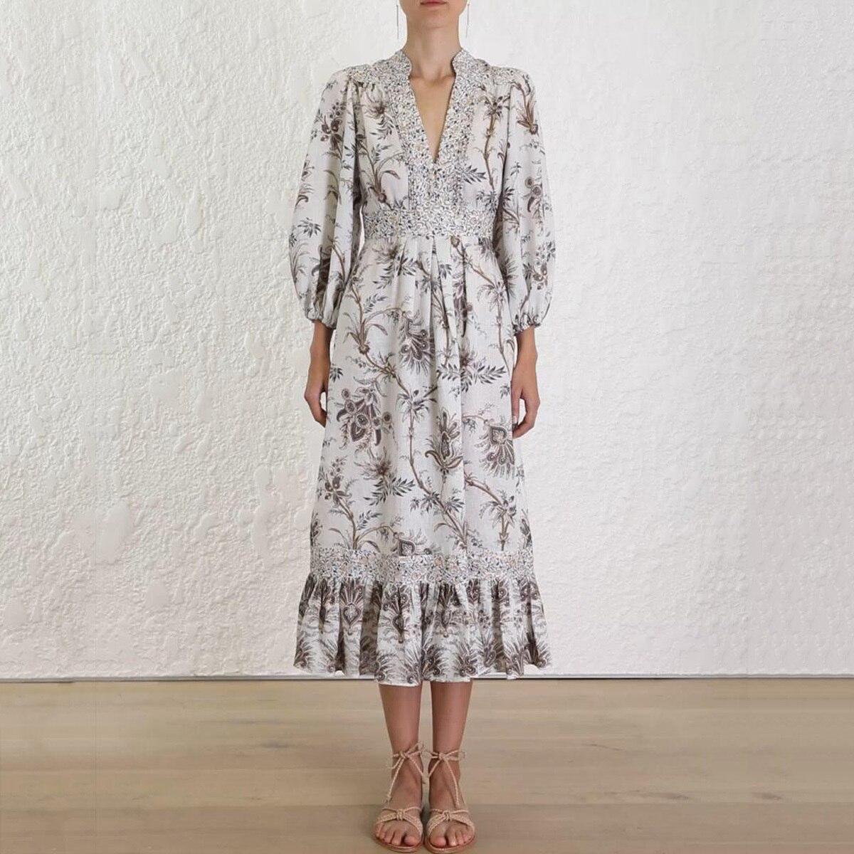 Jastie 2019 nouvelle robe d'été v-cut Blouson boîtier robes Midi femmes imprimé Floral robe Boho Chic Hippie vacances vêtements de plage