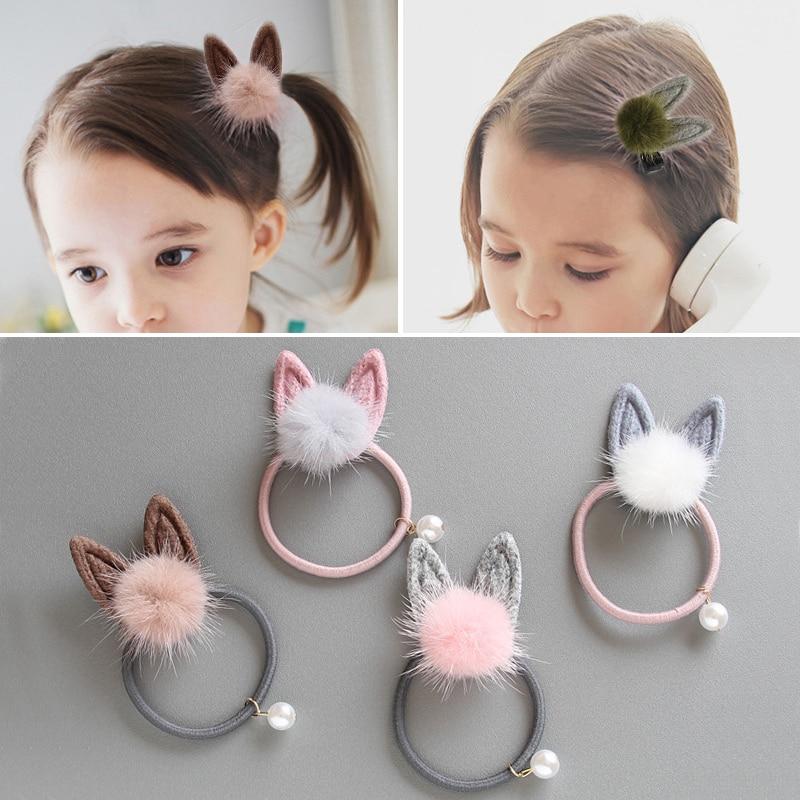 Fashion 1pc Cute Bow Cat EarsHair Ropes Children  Elastic Rubber Hair Band Girls Baby Headwear Kids Clip Headdress
