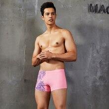 2019 Newest Mens Leaf Printed Swimsuit Gay Pink Bikini Swimwear S-XL Polyester Male Swim Trunks