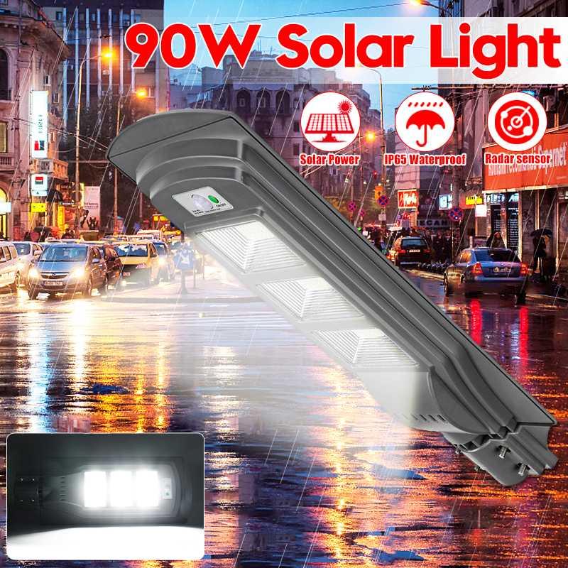 90W LED Solar Lamp Wall Street Light Super Bright Radar Motion Sensor Light Control Waterproof Security
