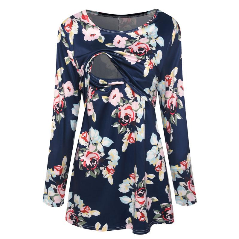 Autumn Floral Print Maternity Nursing Clothes For Women Printed Pregnant Clothing T Shirt Casual Pregnancy T-Shirt Autumn