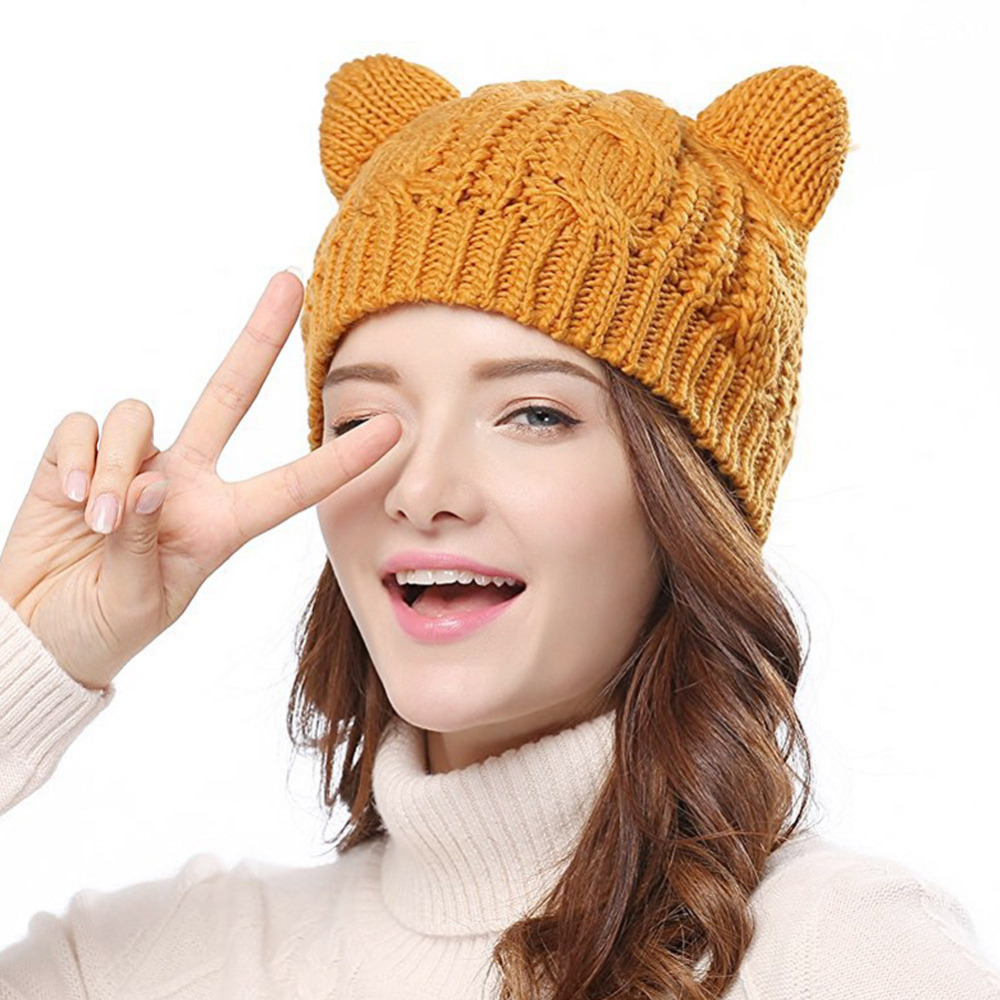 2019 Hot selling Cat Ears Cute Hats for women brand knitting warm korean lovely   Beanies   Winter knitted Cap Valentine's Day gift