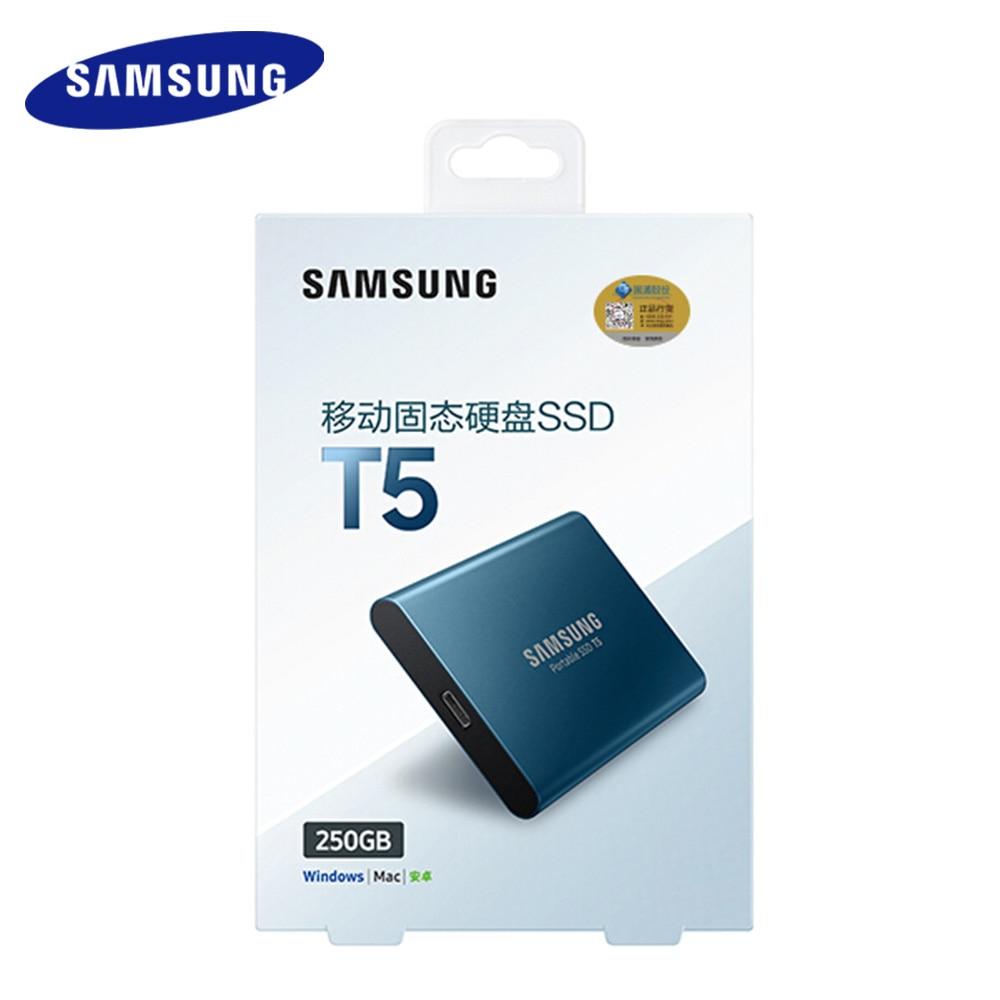 Samsung Externe SSD T5 250 gb 500g 1 t 2 t à État Solide Externe HD Disque Dur USB 3.1 gen2 (10 Gbps) et en arrière compatible pour PC