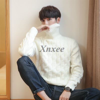 Men's Pullover Turtleneck Thick Knitted Pullover Winter Sweater Male High Turtleneck Plus Size Mens Coats Black White Red 5XL