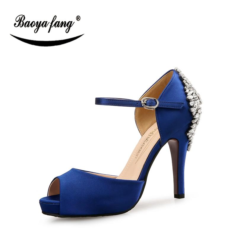 BaoYaFang bleu Royal 10.5 cm talon femmes chaussures de mariage mariée chaussures à talons hauts plate-forme pour femme chaussures à semelle rouge à bout ouvert