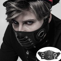 Fashion PU Leather Inside Breathable Double Net Cool Men Masks Steampunk Classic black Gas Mask Gothic Cosplay PUNK RAVE S 270