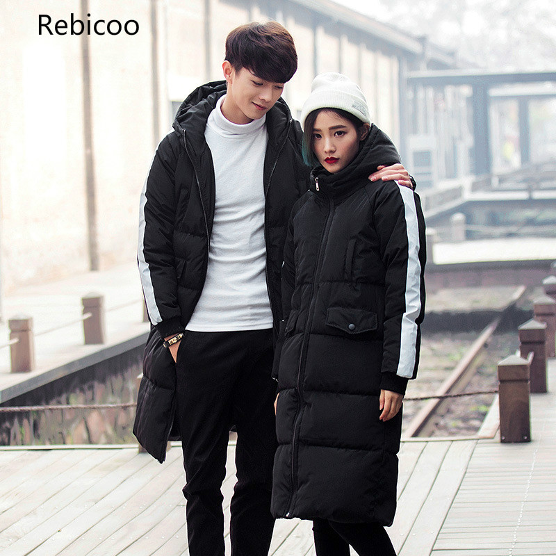 New Winter Men Parkas Fashion Striped Men/Women Long Outwear Coats Hooded Thick Warm Windbreaker Couple Jackets 5XL,