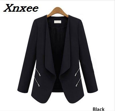 Women Blazer Feminino Personalized Zipper Pockets Long Sleeve Female Blazer Jacket Coat Office Ladies Slim Blazer Plus Size