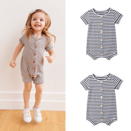 UK Baby Girls Kid Striped Jumpsuit Playsuit Toddler Summer Romper Outfit Clothes