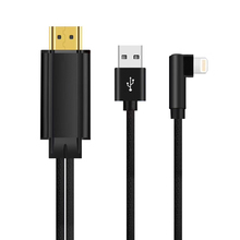 90 grau HDMI Conversor para Apple Relâmpago para Cabo HDMI Nylon Trançado USB HDMI TV Adaptador AV Digital para iPhone X 8 7 6 iPad