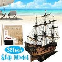 DIY Handmade Assembly Ship 32 Scale Wooden Sailing Boat Model Kit Ship Handmade Assembly Decoration Gift For Children Boy