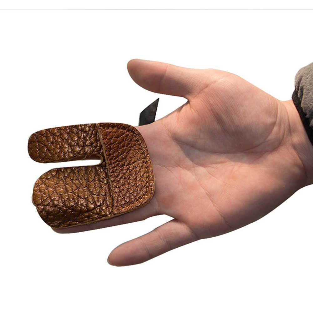 1X Koe Lederen Boogschieten Handschoen Tab Boog Fit Vinger Guard Bescherming Pad