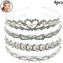 4PCS Handmade Pearl Rhinestone Sweet Bridal Headband Decorative Rhinestones Party Headpiece Wedding Hair Accessories