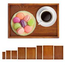 Прямоугольный деревянный чайный поднос, сервировочный стол, тарелка для хранения закусок, блюдо для хранения еды для дома в отеле с ручкой, поднос для сервировки, украшение дома