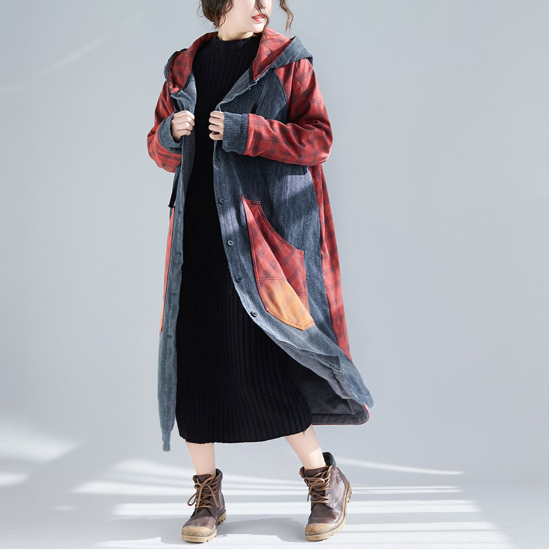 Thicken Loose Long cowboy Windbreaker Casual Hooded Patchwork Denim   Trench   Coat Women Baggy Oversized Maxi jean Overcoat YT12122