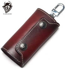 купить Vintage 100% Genuine Leather Key Wallet Women Keychain Covers Zipper Key Case Bag Men Key Holder Housekeeper Keys Organizer по цене 628.3 рублей