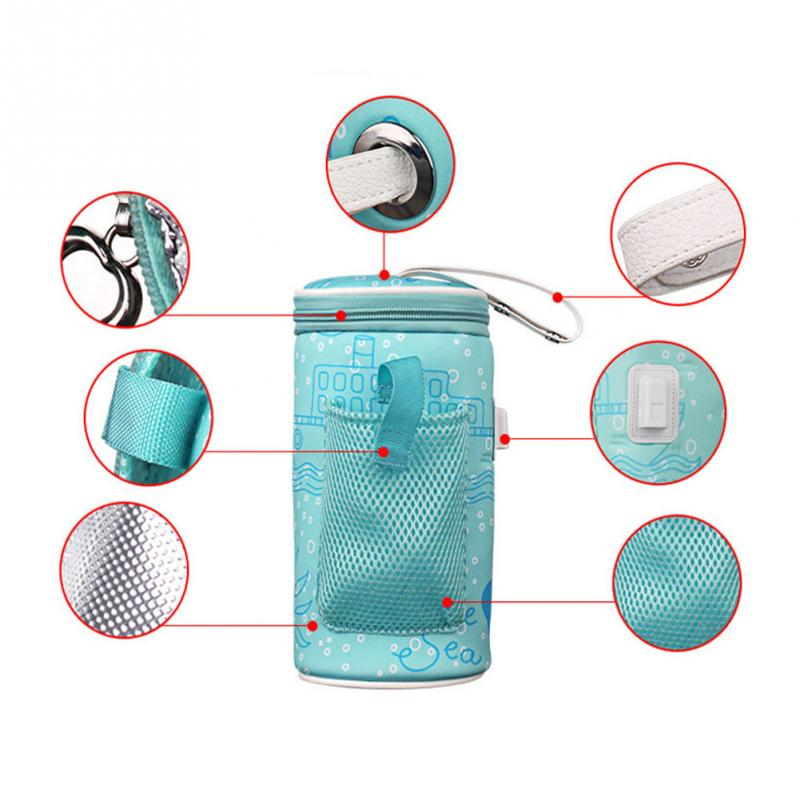 Newborn Feeding USB Baby Bottle Warmer Heater Insulated Bag Travel Cup Portable In Car Heaters Drink Warm Milk Thermostat Bag