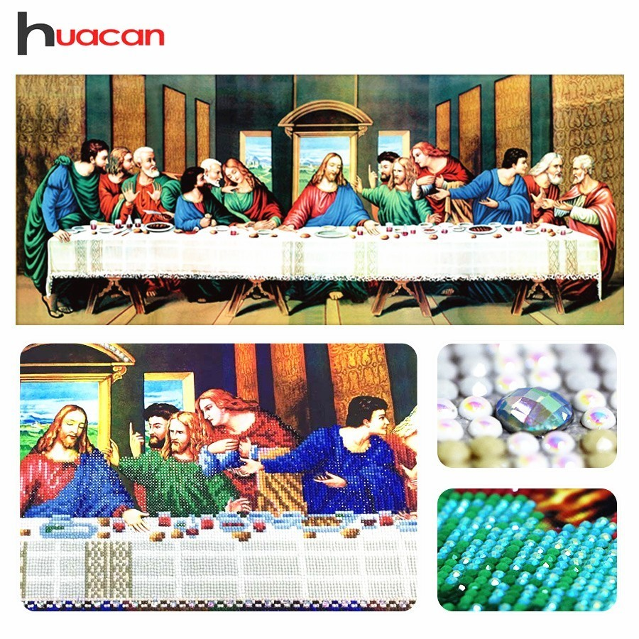 Huacan, Lukisan Sulaman Berbentuk Khas, Perhiasan Berlian, Perjamuan Terakhir, Keagamaan, 5D Diamond Mosaic, Cross Stitch, Holiday, Hadiah, Hiasan Dinding