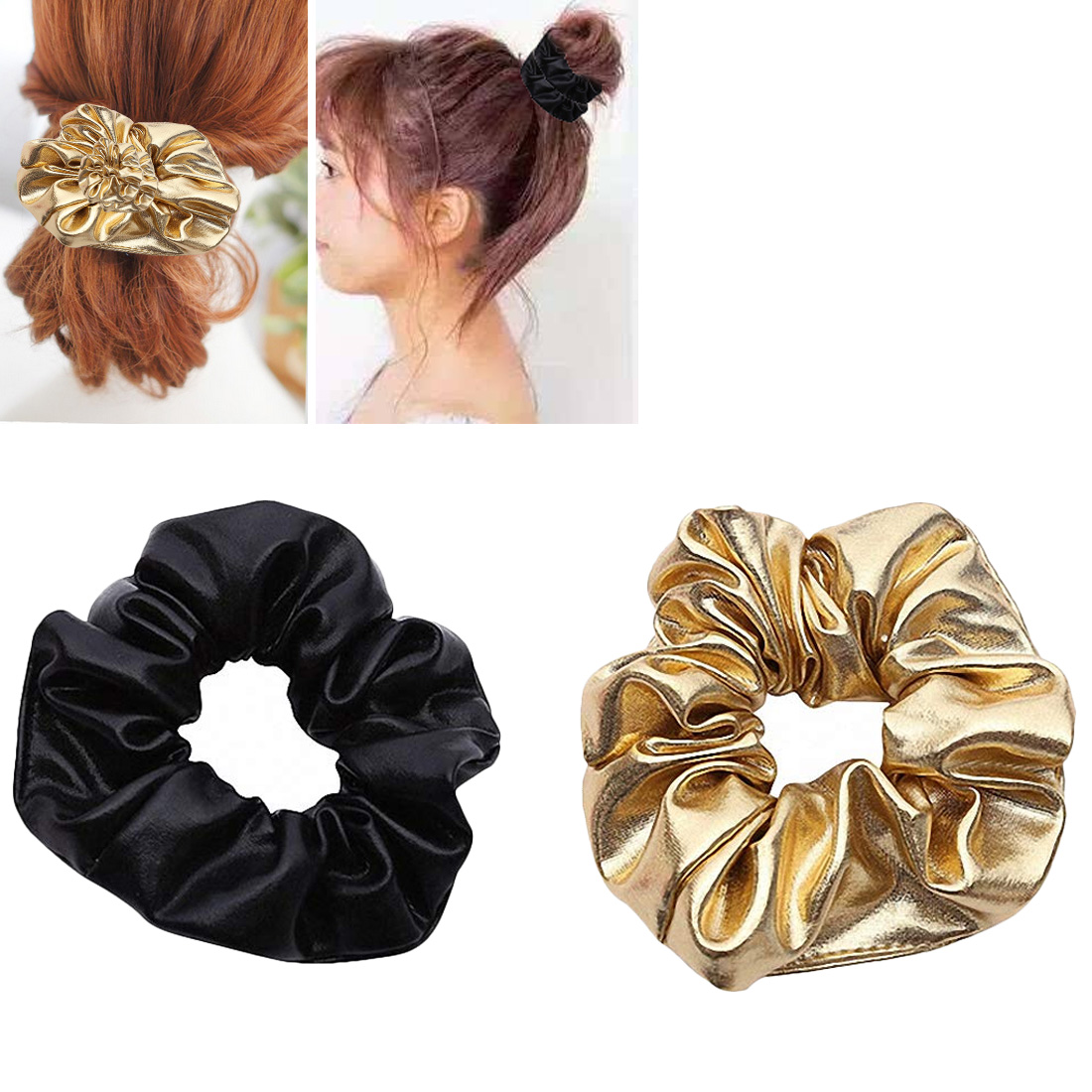 Women PU Faux Leather Elastic Hair Ties Girls Hairband Rope Ponytail Holder Scrunchie Gold Black Headbands Accessories