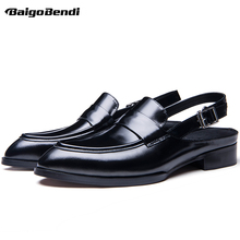 Rome Style Genuine Leather Men Close Toe Buckle Belt Sandals Trendy Square Heel Pointed Sandal Man Summer Heels