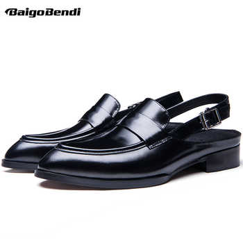 Rome Style Genuine Leather Men Close Toe Buckle Belt Sandals Trendy Square Heel Pointed Toe Sandal Man Summer Heels - DISCOUNT ITEM  10% OFF All Category