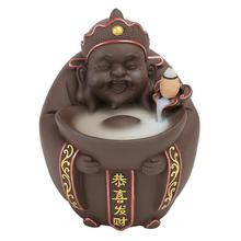 Chinese God Of Wealth Blackflow Incense Burner Smoke Waterfall Holder Handmade Ceramic Censer Home Office Decoration