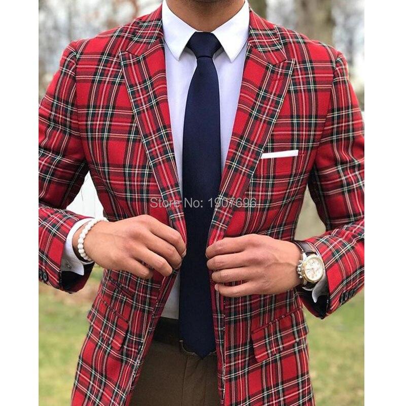 ลายสก๊อตผู้ชายชุดสำหรับงานแต่งงานเจ้าบ่าว Tuxedos Slim Fit ชุด Peaked Lapel 2 ชิ้น Blazer กางเกง Custom Made 2019-ใน สูท จาก เสื้อผ้าผู้ชาย บน   1