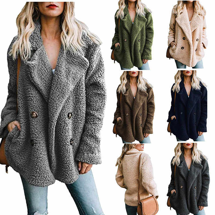Vrouwen Jassen Winter Jas Vrouwen Vesten Dames Warme Jumper Fleece Faux Fur Coat wol blend Uitloper Blouson Femme