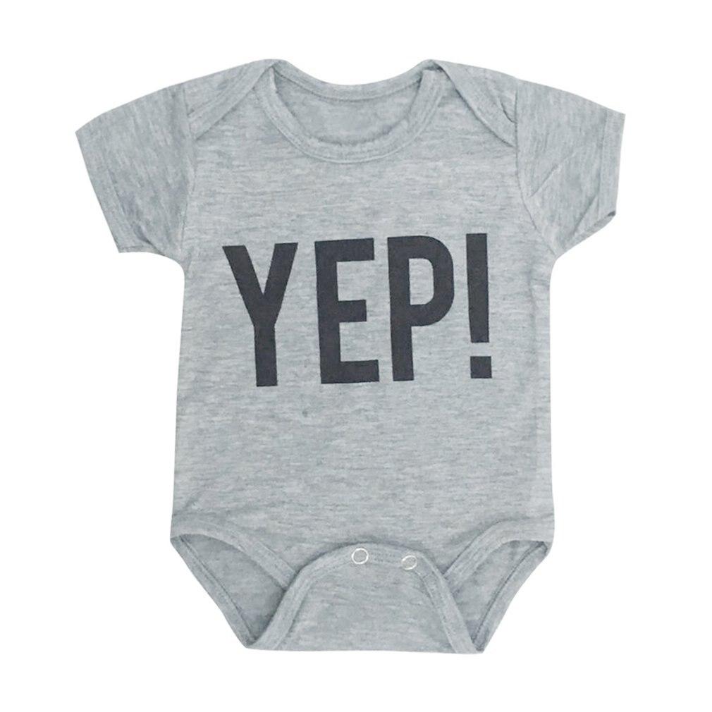 Summer Cotton Baby Short Sleeve Romper YEP Letter Printed Bodysuit Newborn Infant Jumpsuit Boys Girls Pullover Clothes