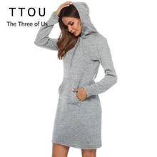TTOU Autumn Winter Sweatshirt Long Sleeve Dress 2019 Female Casual Hooded Collar Pocket Design Simple Style Drawstring Dress