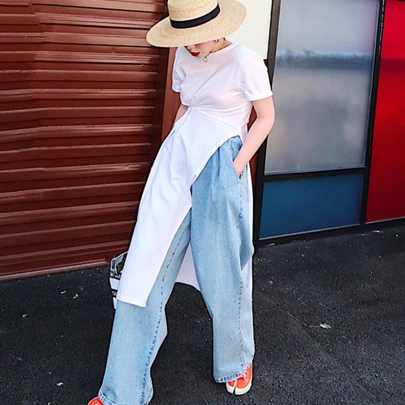 2019 New Summer Styles Women Thin Clothes Round Neck High Open Waist Irregualr Loose Dress T shirt Covered A632