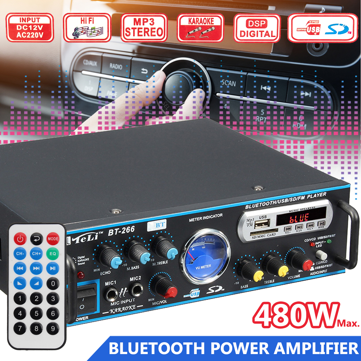 12V/ 220V HIFI Wireless Bluetooth Equalizer Car Amplifier Audio Stereo Power Amplifiers FM Car Home Theater Amplifiers 480W 800w universal bluetooth car auto stereo power amplifier car sound wireless amplifier 2 channel eq hifi stereo audio amplifiers