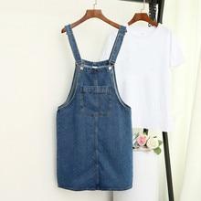 цены Summer Womens Sleeveless Denim Strap Jeans Dress Female Casual Pockets Vestido Dungarees Sundress Plus Size 5XL