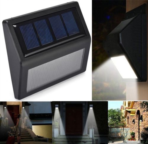 Waterproof 6 LED Solar Powered Wall Lamp Outdoor Garden Pathway Street Stairs Lighting Security Light White