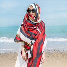 LEAYH Brand Womens Ethnic Style Striped Print Shawls Scarf Vintage Tassel Beach Towels Seaside Large Scarves Wraps 180cm*100cm