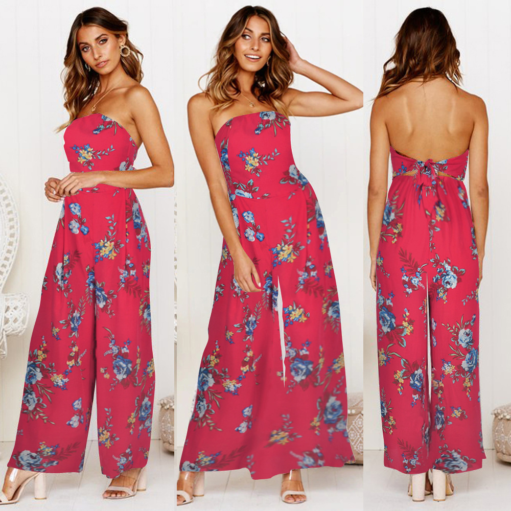 Women Fashion Floral Print Strapless Jumpsuit Trousers Casual Playsuit Romper