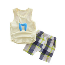 Summer 2pcs Suits Baby Boy Clothing Set  Soft Boys Vest Clothes Cotton Sleeveless Sports T Shirts Toddler Shorts